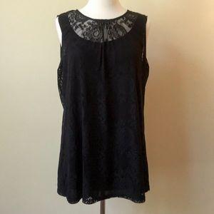 CAbi Black Lace Sleeveless Blouse Style # 942